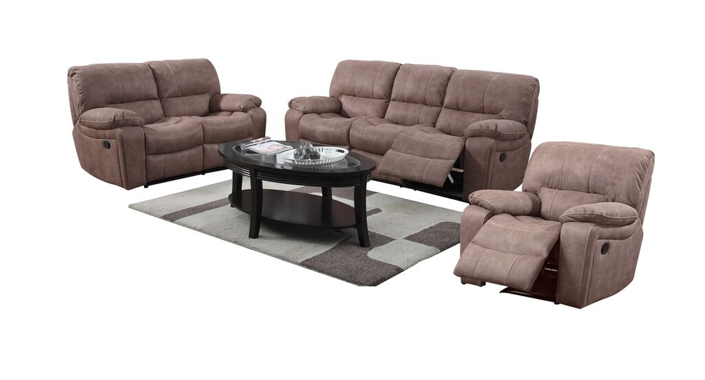 banner suede in mocha with recliner